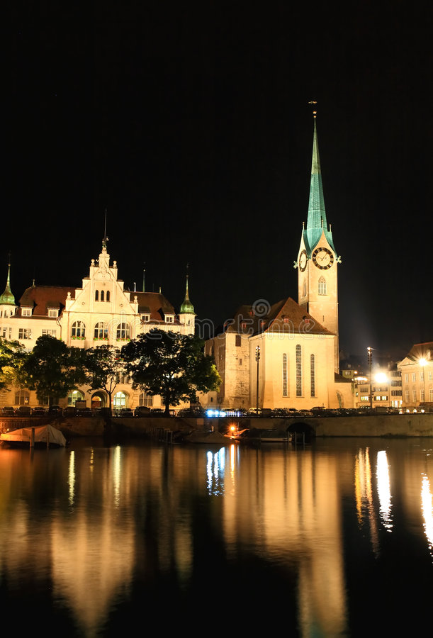 The night view of the Fraumunster in Zurich royalty free stock image