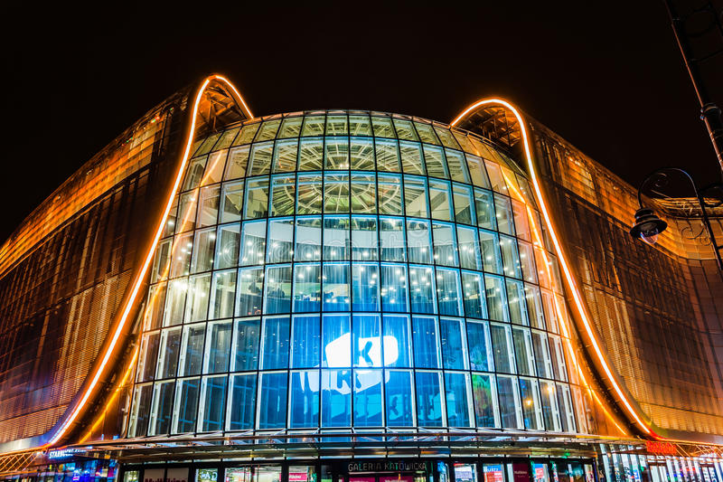 Night view of Galeria Katowicka mall. In Katowice, Silesia region, Poland, on January 25, 2014. Together with the new railway station nearby it forms one of the royalty free stock images