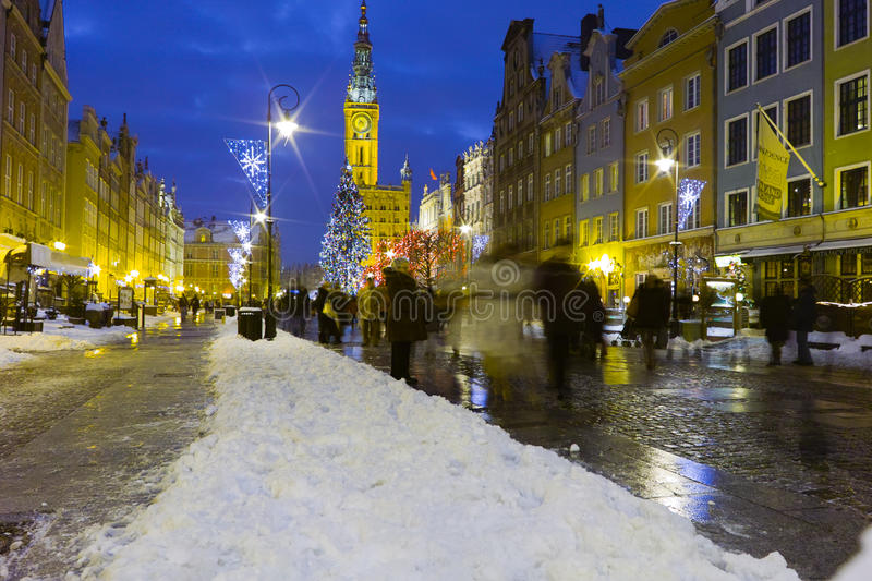 Download Night view of Gdansk. editorial photo. Image of light - 28654571