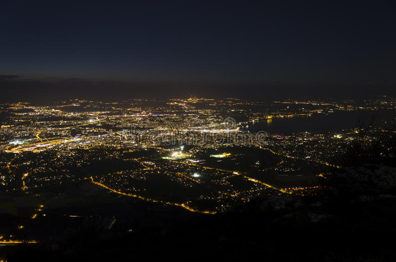 Night view of Geneva from Mount Saleve royalty free stock photography