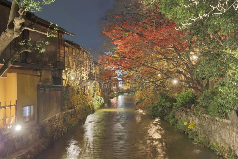 Night view of beautiful Gion district, Kyoto, Japan. Night view of the Gion district, Kyoto, Japan stock image
