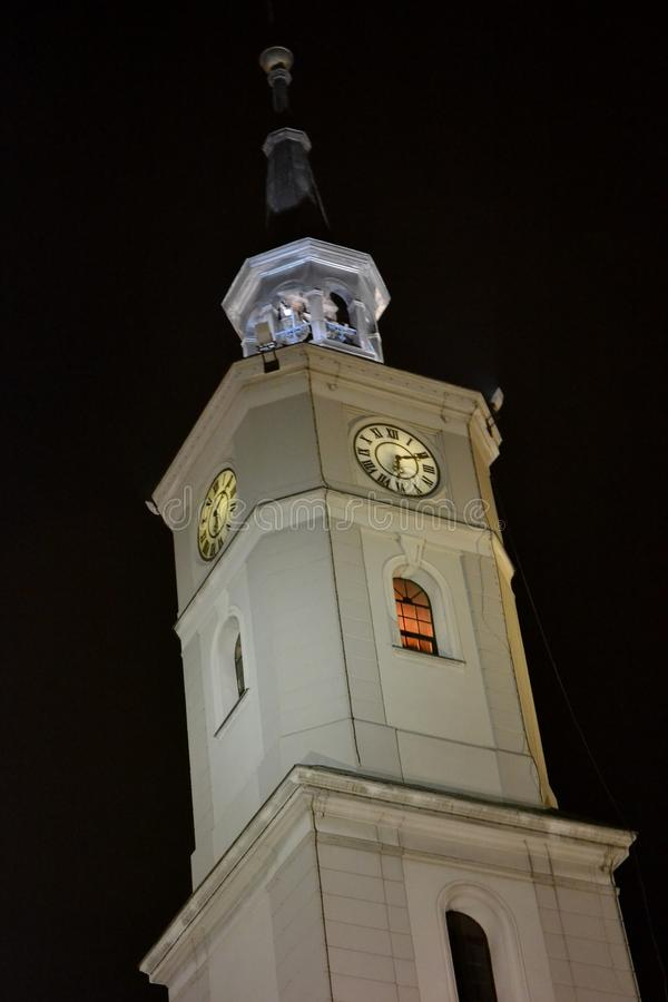 Town hall clock in Gliwice, Poland. Night view from Gliwice, Silesia, Poland royalty free stock image