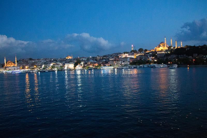 Night view of Golden Horn and Suleymaniye mosque royalty free stock image