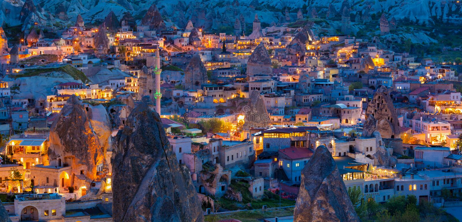 Night view of Goreme, Cappadocia, Turkey. Night view of Goreme town in Nevsehir Province, Central Anatolia located among amazing rock formations in Cappadocia stock photo