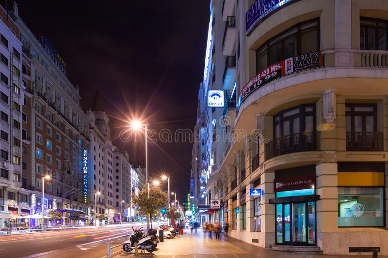 Night view of Gran Via from Spain Square stock image