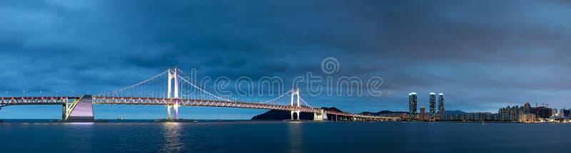 The night view of Gwangan Bridge in Busan city royalty free stock image