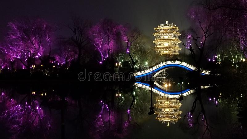 Night View of Haoran Building in Jinan, China royalty free stock images