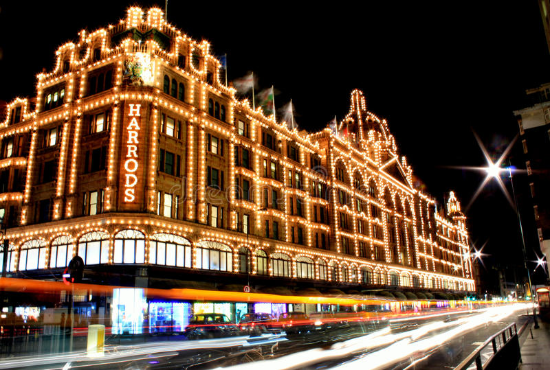 Download Night view of Harrods editorial photo. Image of long - 26655596