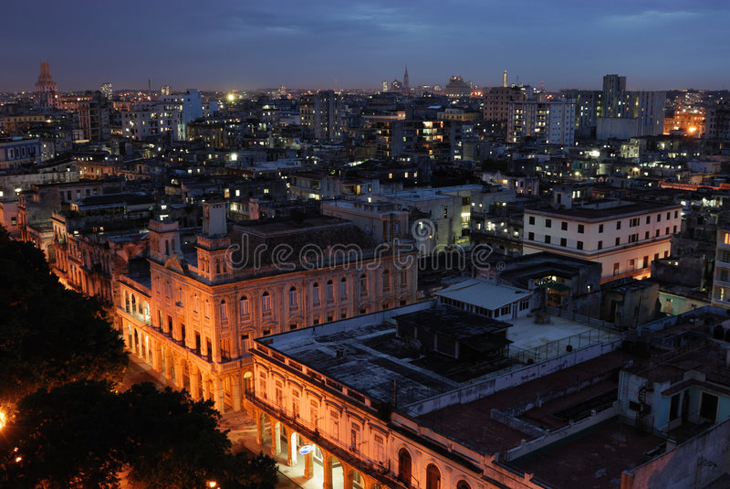 Night view of Havana, Cuba stock image