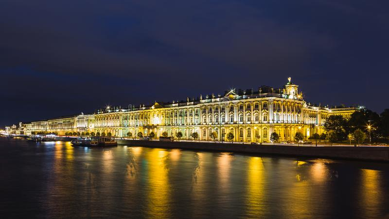 Night view of the Hermitage in St. Petersburg stock photo