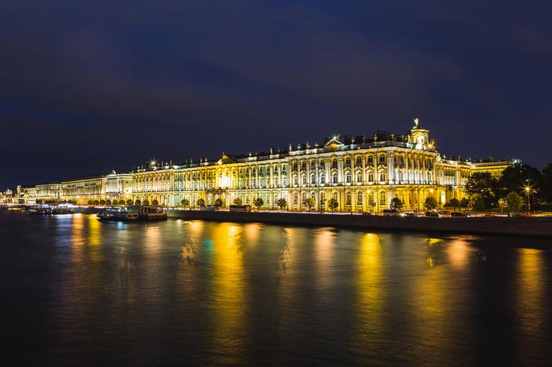 Night view of the Hermitage in St. Petersburg royalty free stock images