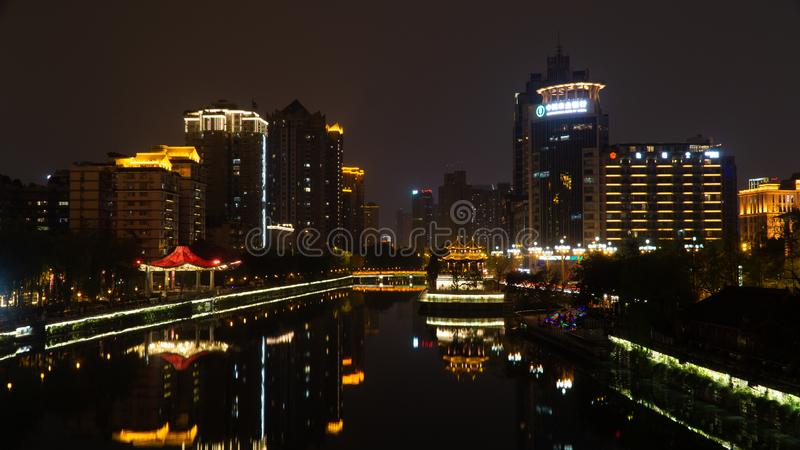 A night view of historical centre Chengdu city, China royalty free stock photo