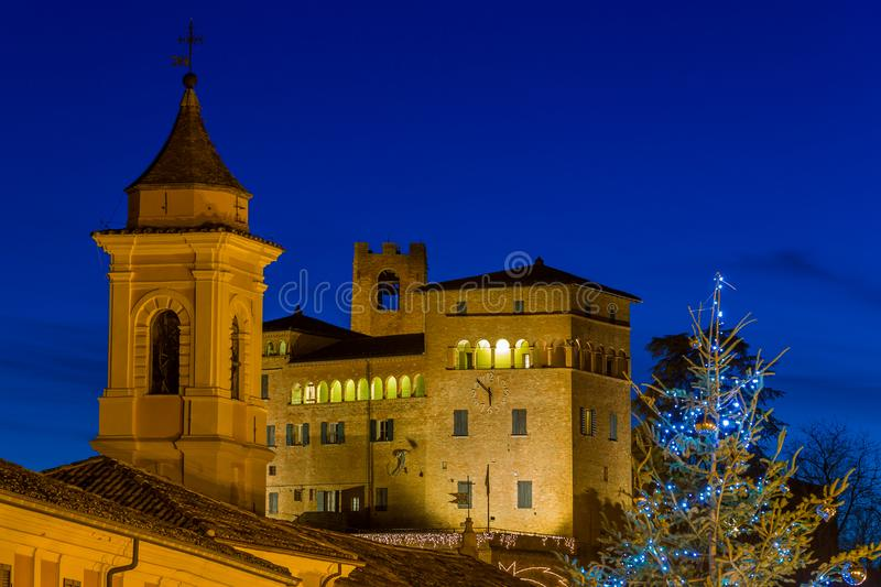 Night view of medieval village at christmas stock photography
