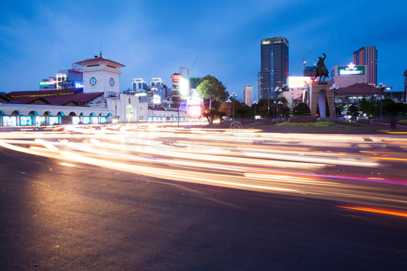 Night view of Ho Chi Minh City near Ben Tanh central market stock photos