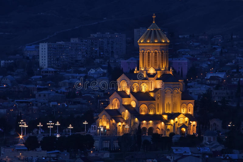 Night view of The Holy Trinity Cathedral of Tbilisi (Sameba). In Georgia royalty free stock image