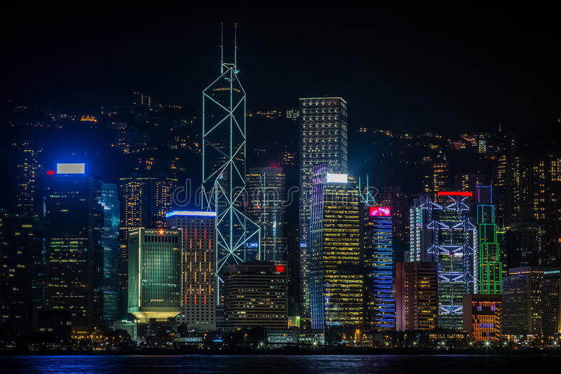 Night view of Hong Kong Central Business District illuminated sk stock images
