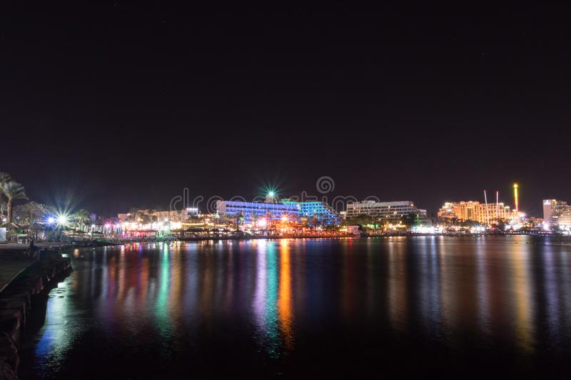 Night view of hotels in israel vacation resort Eilat, Israel.  stock photo