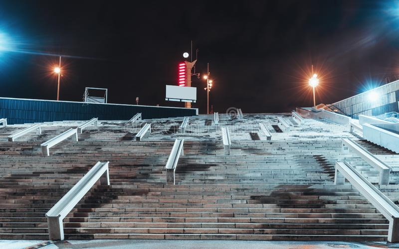 Night view of a huge staircase stock photography