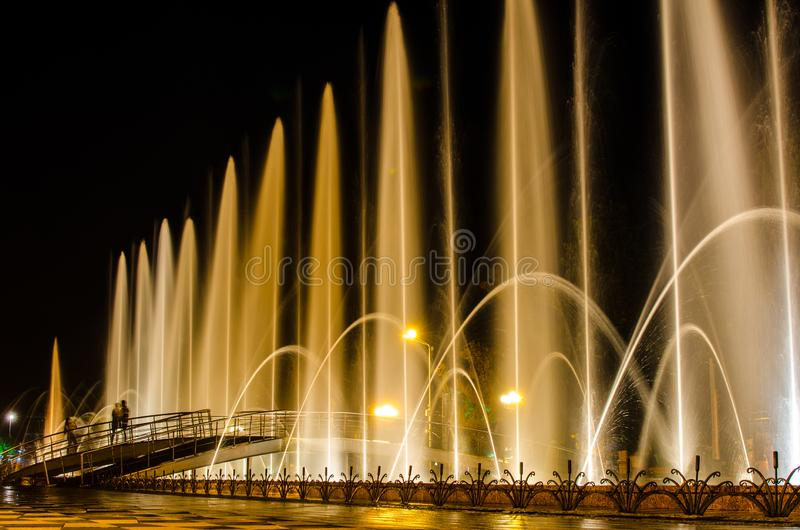 Night view of illuminated Batumi Boulevard Dancing Fountain stock images