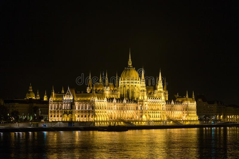 Night view of the illuminated Hungarian Parliament Building in Budapest, country of Europe. Hungary. BUDAPEST, HUNGARY - AUGUST 16, 2017 : Night view of the stock photos