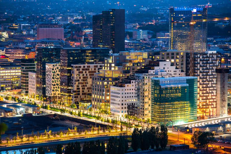 Night view of illuminated street in the Oslo business center. Modern architecture. Norway. Night view of illuminated street in the Oslo business center. Modern royalty free stock photography