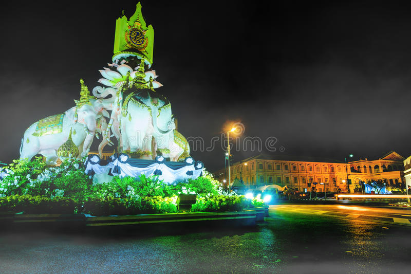Night View Image Of Statues Of Thai White Elephants And Symbols