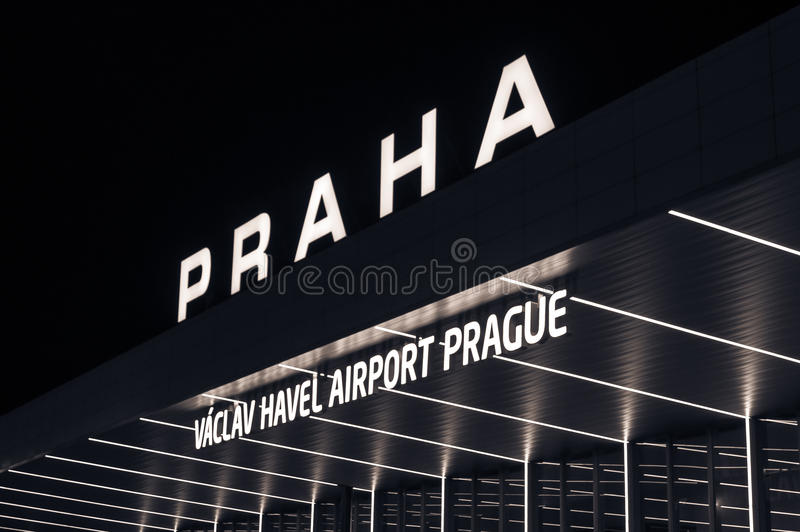 Night view international airport in Prague, Czech Republic. royalty free stock photography