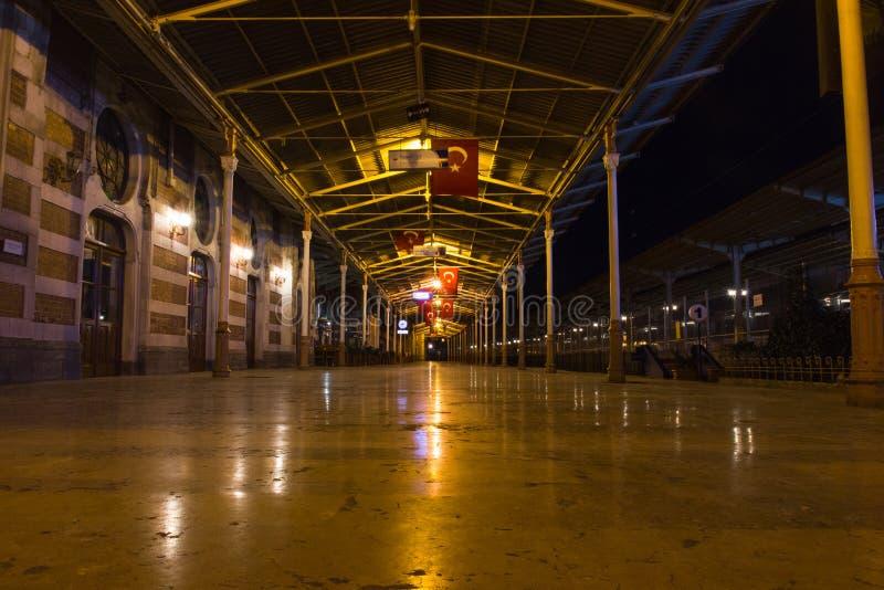Night view of Istanbul Historic Train Station platform. Turkey.  royalty free stock image