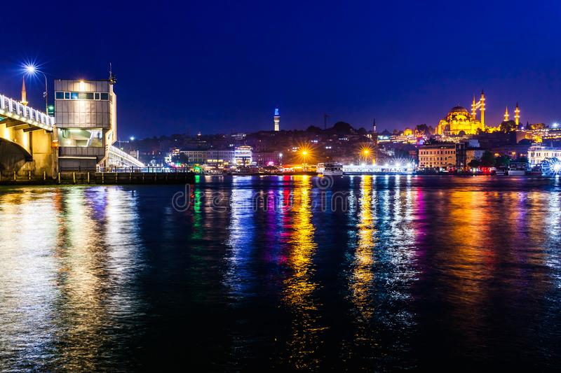 Night view of Istanbul. Panorama cityscape of famous tourist destination Golden Horn bay part of Bosphorus strait and Galata royalty free stock photos