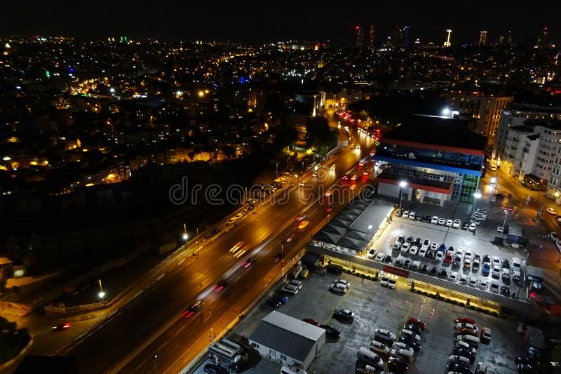 The night view on Istanbul from the rooftop.  stock photography