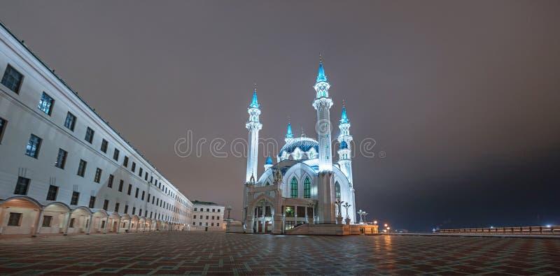 Night view of the Kazan Kremlin. Kul-Sharif Mosque royalty free stock photography