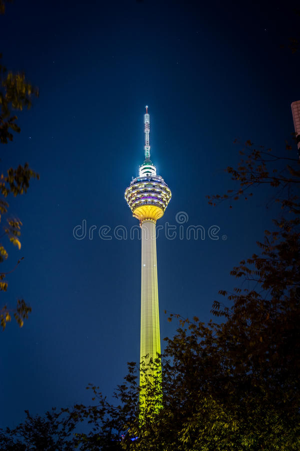 Night view of KL Tower in Kuala Lumpur stock images