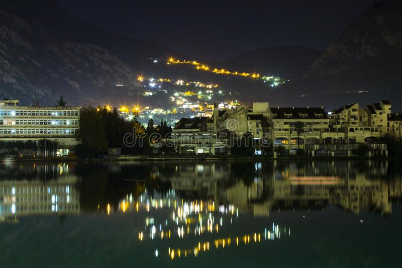 Night view of Kotor Bay and part of Kotor city. Montenegro stock images