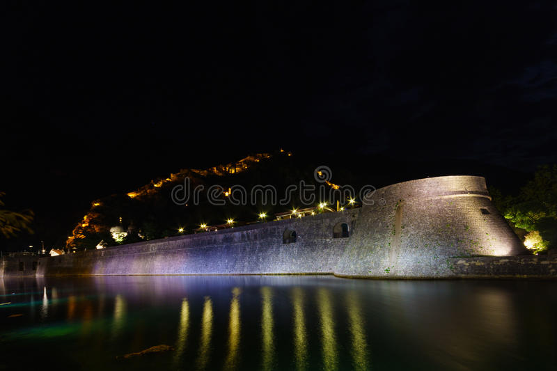 Night view in Kotor stock photography