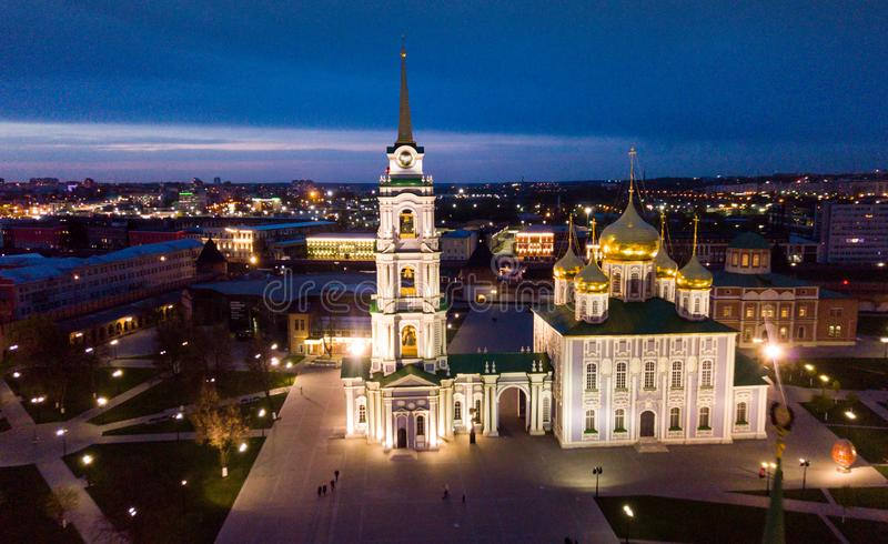 Night view of Kremlin and the Assumption Church in Tula stock image