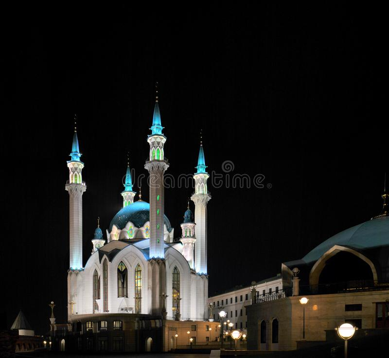 Night view of the Kul Sharif mosque on the territory of the Kazan Kremlin. stock photography