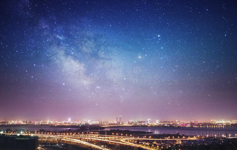 Night view of kunming city. Pictured in xishan moutain after sunset, it's so beautiful stock images