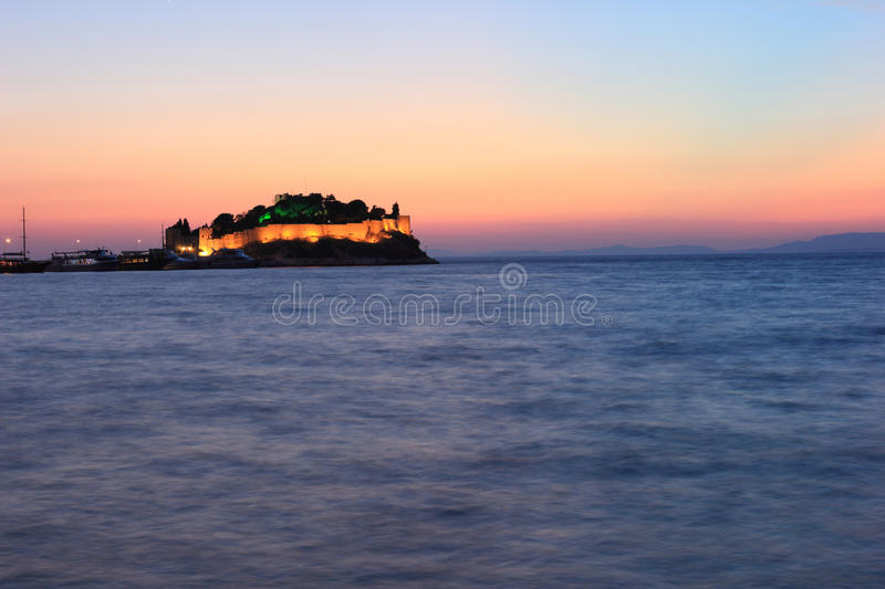 Download Night view kusadasi castle stock image. Image of night - 31892075