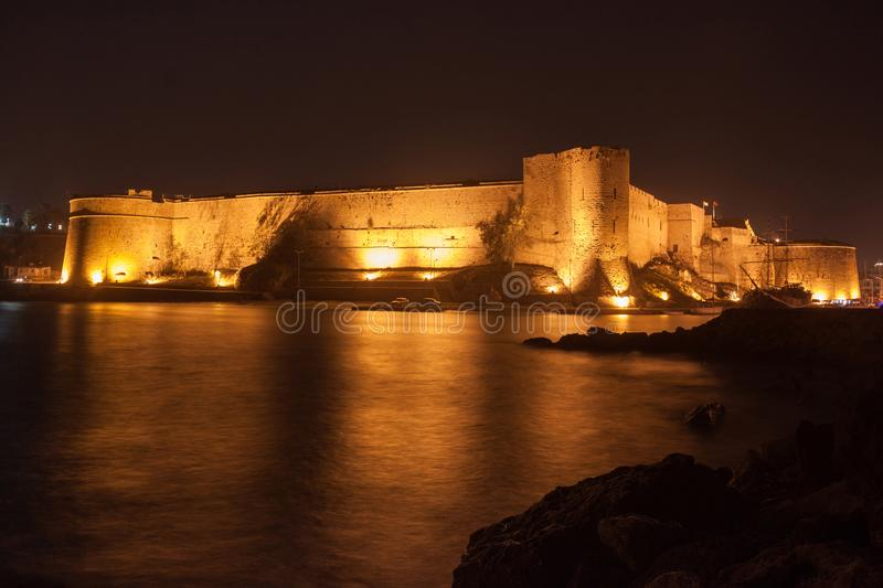 Night view of the Kyrenia Castle in Northern Cyprus. The 16th-century castle was built by the Venetians over a previous Crusader fortification royalty free stock images