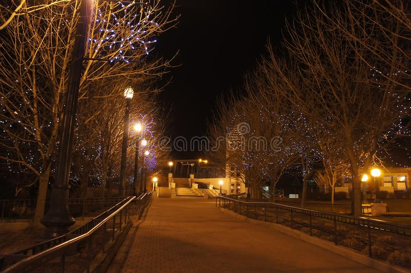 Night view of the Lafayette Station. Indiana stock image