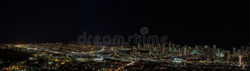 Night view of the lights of Kaimuki and Waikiki royalty free stock photography
