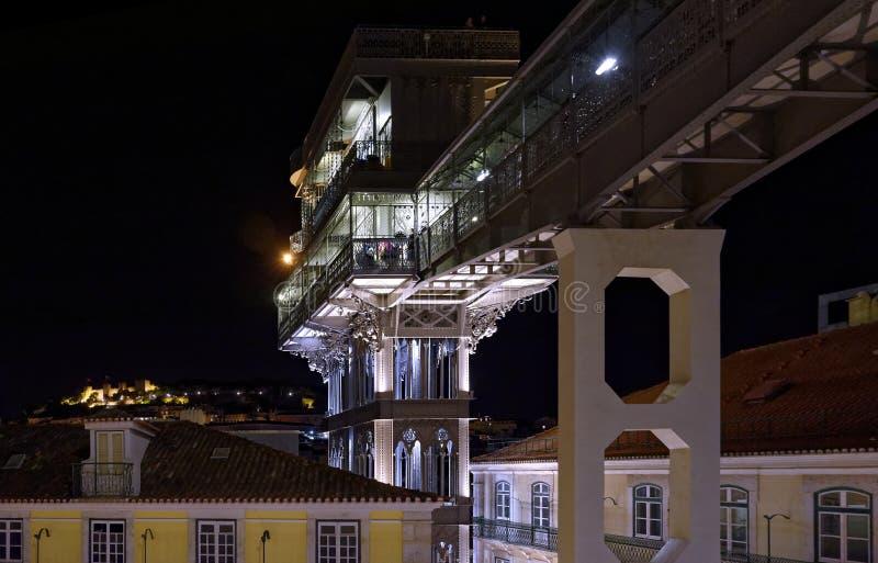 Elevador de santa justa. Night view of lisbon santa justa elevador stock photo