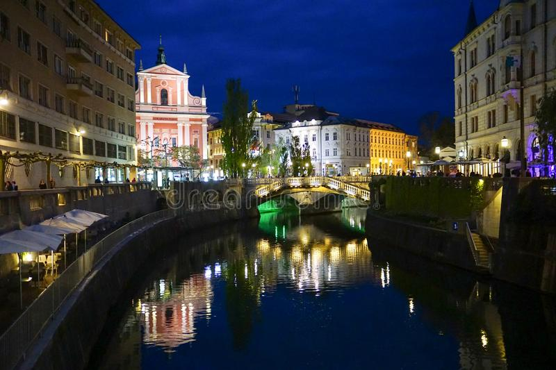 Night view from the Ljubljanica River to the Centre of Ljubljana, Slovenia. stock images