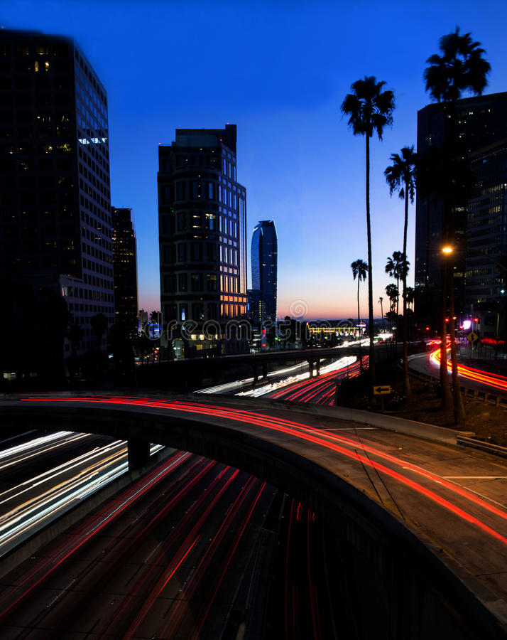 Night view of Los Angeles freeway and buildings royalty free stock photo