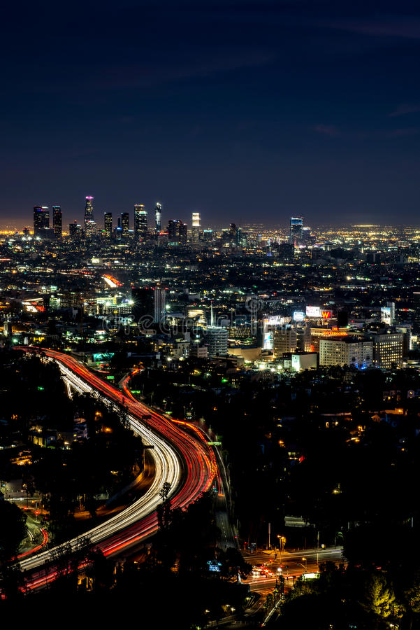 Download Night View Of Los Angeles From Hollywood Hills Editorial Image