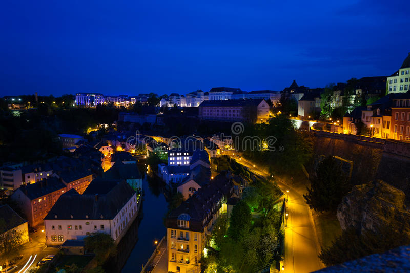 Download Night View Of Luxembourg On Alzette River Stock Photo - Image: 43446168
