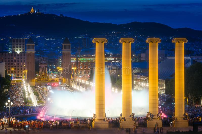 Download Night View Of Magic Fountain In Barcelona Editorial Stock Photo - Image of magica, festive: 111455548