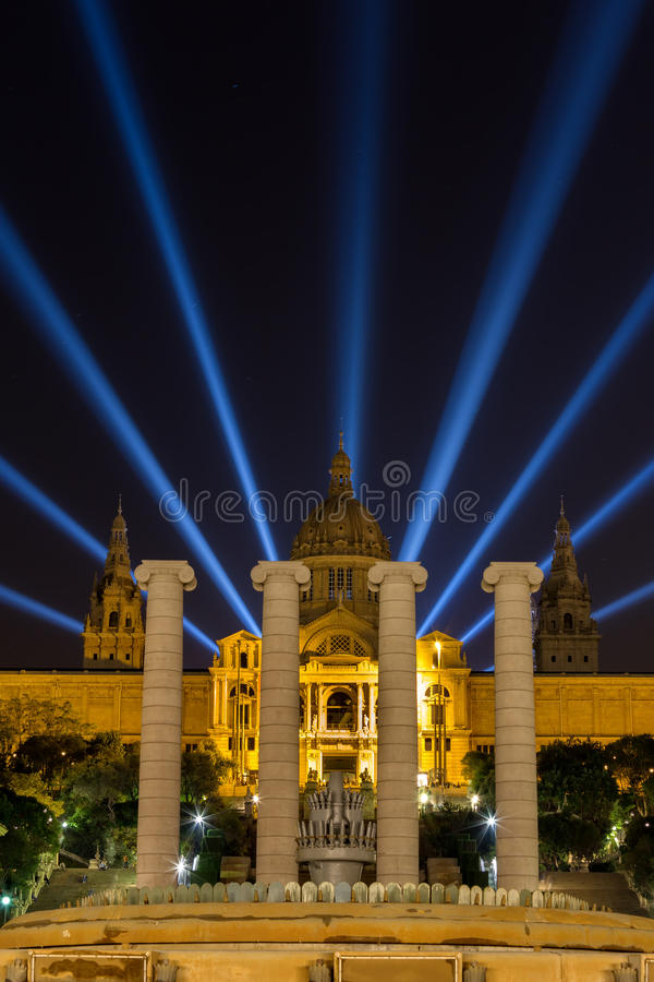 Night view of Magic Fountain light show in Barcelona, Spain royalty free stock image