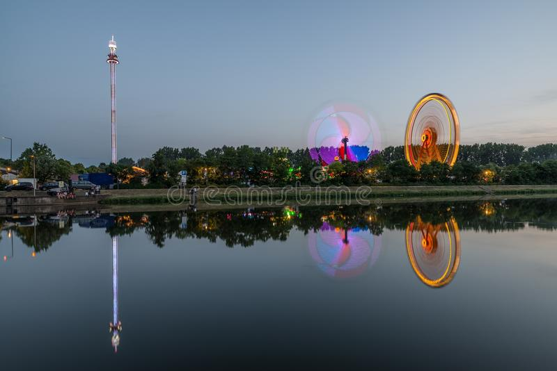 Night view of the Maidult with Ferris wheel in Regensburg, Germany.  royalty free stock photo
