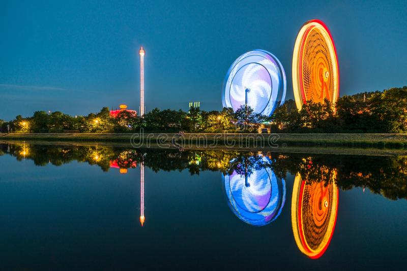 Night view of the Maidult with Ferris wheel in Regensburg, Germany.  stock photo
